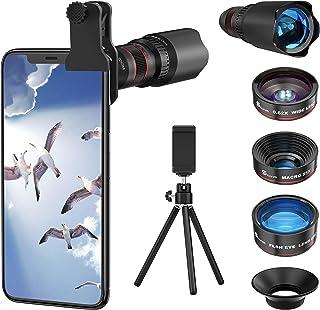 Selvim Phone Camera Lens Phone Lens Kit 4 in 1, 22X Telephoto Lens, 235° Fisheye Lens, 0.62X Wide Angle Lens, 25X Macro Le...