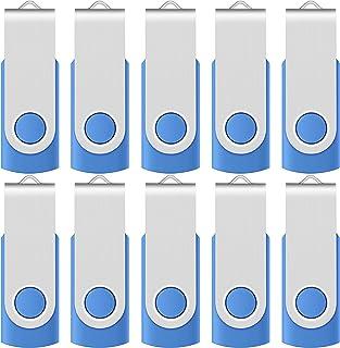 محرك أقراص فلاش يو إس بي 2.0 سعة 256 ميجابايت من Enfain (10 مجموعات، أزرق)