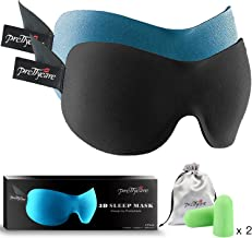 3D Sleep Mask (New Design by PrettyCare with 2 Pack) Eye Mask for Sleeping - Contoured Eyemask for Airplane with EarPlugs & Yoga Silk Bag for Travel - Best Night Blindfold Eyeshade for Men Women