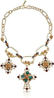Women's Rhinestone Fancy Cross Pendant Chain Statement Chain Necklace