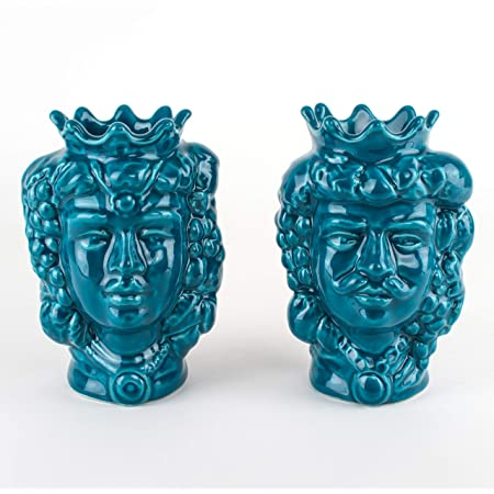 Teste di Moro di Sicilia H cm 14 in Ceramica, Coppia Teste di Moro Caltagirone bomboniere