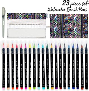 OOKU 水彩毛筆20本セット リアルブラッシュ 収納ケース/ウォーターブラシ付き