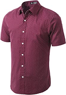 Men Short Sleeves Dots Allover Print Cotton Button Down Shirt