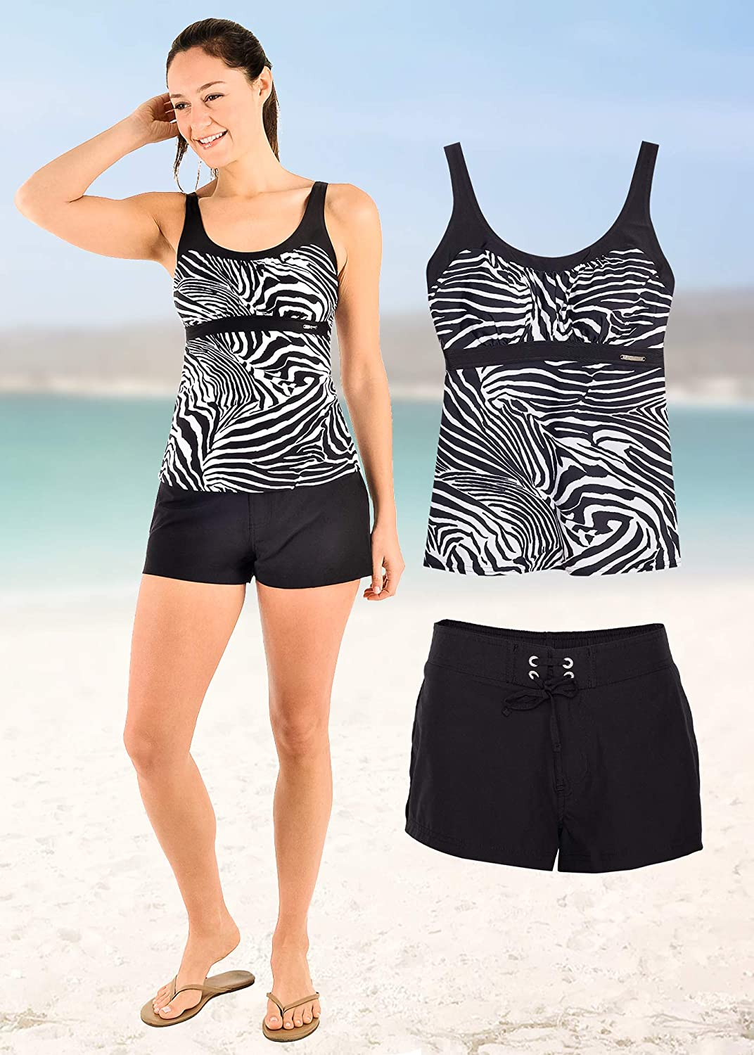 ZeroXposur Womens Tankini Swimsuits Ruched Top Boybrief Bottoms Set