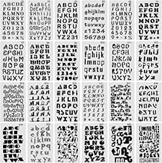 Finyosee Letter Stencils for Notebook, Diary, Scrapbook, DIY Drawing Template - Alphabet with Calligraphy Font Upper and Lowercase Letters - Reusable Plastic Art Craft Stencils(Pack of 24)