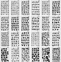 Finyosee Letter Stencils for Notebook, Diary, Scrapbook, DIY Drawing Template - Alphabet with Calligraphy Font Upper and L...