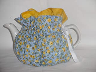 2 Cup Pretty Yellow Roses on Blue Reversible Tea Pot Cozy
