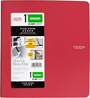 Five Star 1 Inch 3 Ring Binder, Plastic, Red (38896)