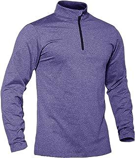 TACVASEN Men's Lightweight Running Top Long Sleeve Gym Jogging Base Layer Fleece Shirts