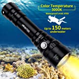 Amazon.com: CooiLight Linterna de buceo L2 LED, 1200 lúmenes ...