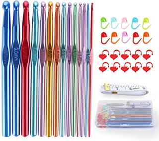 ilauke Crochets en Aluminium Tricot 42 pcs Tricot et Crochet 2–10 mm pour Débuter ou Travail Occasionnel