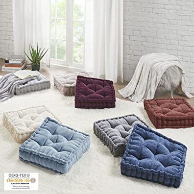 Intelligent Design Azza Floor Pillow Square Pouf Chenille Tufted with Scalloped Edge Design Hypoallergenic Bench/Chair Cushio