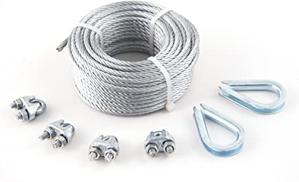 """KingChain 504711 1/8"""" x 50' Galvanized Aircraft Cable Kit"""