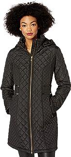 Via Spiga Women's Diamond Quilted Coat W/Detachable Hood, Black, Small