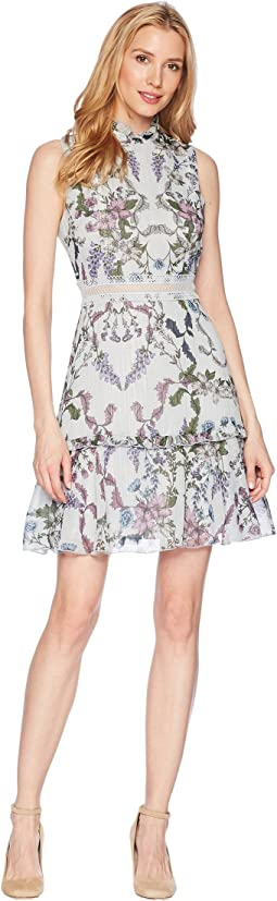 Donna Morgan Sleeveless Printed Chiffon Fit and Flare with Waist Faggoting Detail