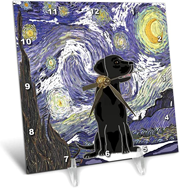 3dRose All Smiles Art Pets Funny Cute Black Lab Puppy Dog In Starry Night Van Gogh Art 6x6 Desk Clock Dc 317010 1