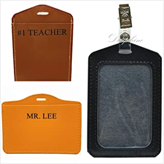 Monogrammed Personalized Custom Horizontal Vertical PU Leather ID Badge Holder with Alligator Clip