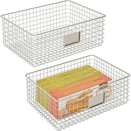 20.6 cm x 20.6 cm x 17 cm Ideal Bedroom and Bathroom Organiser Bronze mDesign Storage Basket Metal Wire Basket for Household Storage