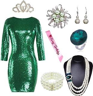 YENMILL Women Sparkle Glitzy Sequin Long Sleeve Flapper Party Club Plus Dress w/Accessories