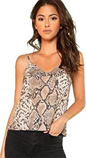 Romwe Women's Animal Snake Skin Graphic Print Cami Top