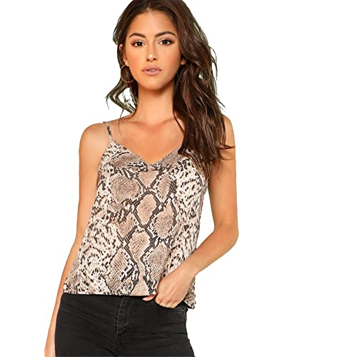 e6625fda913c Romwe Women's Animal Snake Skin Graphic Print Cami Top