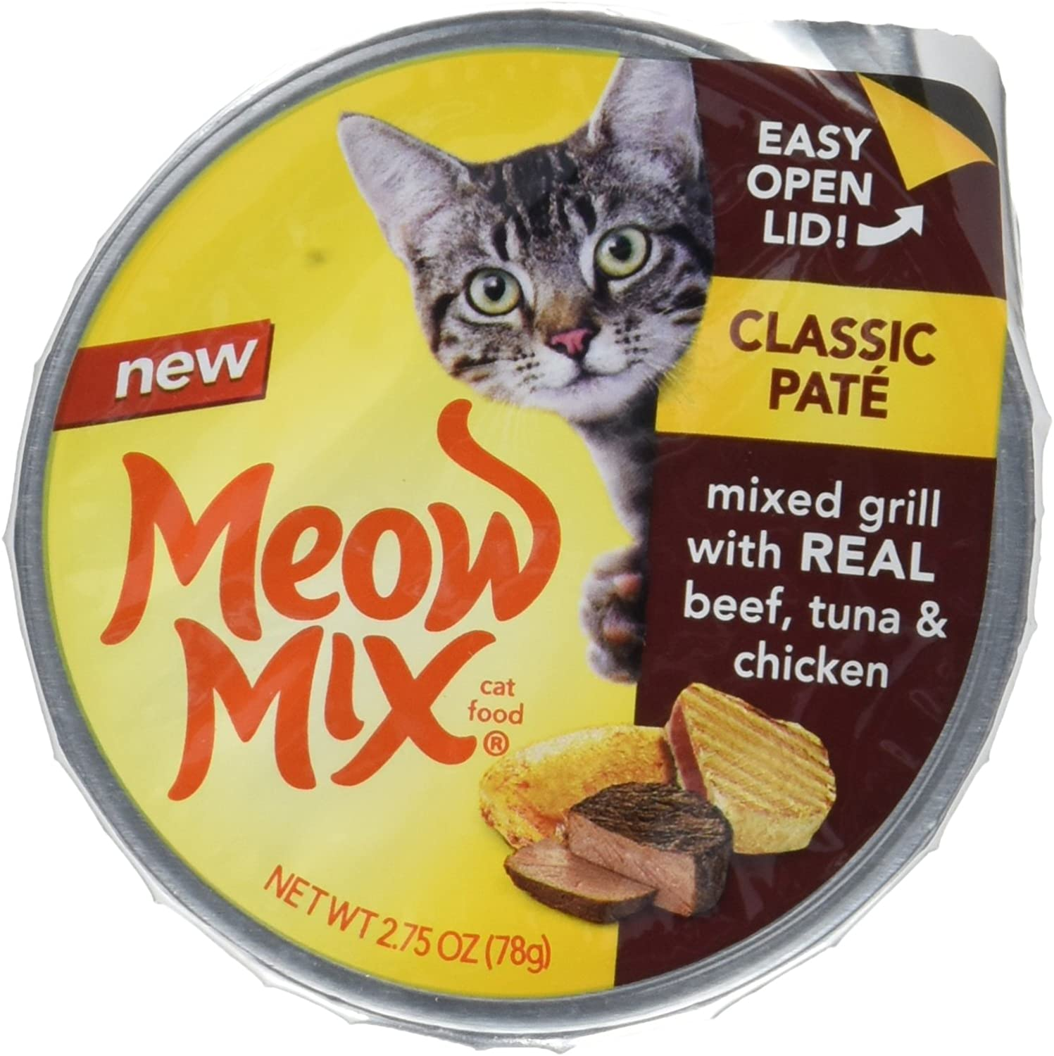 Meow Mix 829274148870 2.75 oz Mixed Grilled Pate Wet Cat Food (12 Pack), One Size