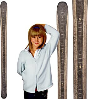 Growth Chart Art | Ski Growth Chart | Wooden Wall Hanging Height Chart for Kids, Children, Boys & Girls | Gray Woodgrain Inches