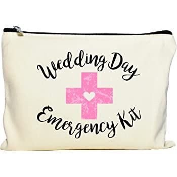 Moonwake Designs Wedding Day Emergency Kit Makeup Bag, Bridal Shower Gift, Wedding Survival Kit, Cosmetic Bag