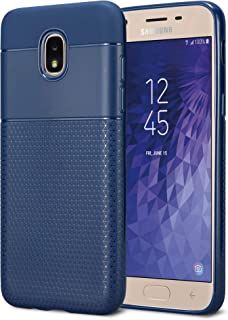 Kit Me Out World Geometric Series Case Designed for Samsung Galaxy J3 (2018) Case, Full Matte Slim Fit Flexible TPU Minimal Durable Protection Case Cover Hexagon Design (Navy Blue)