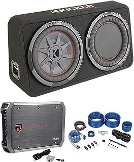 """$354 » Kicker 48TCWRT102 10"""" Slim Car Subwoofer Bundle with Rockville RXD-M1 2000w Peak/500w RMS Mono 1 Ohm Amplifier Car Audio A..."""