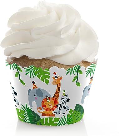 JUNGLE Party Animals - Juego de 12 decoraciones de fiesta de cumpleaños o baby shower de animales de zoológico de Safari