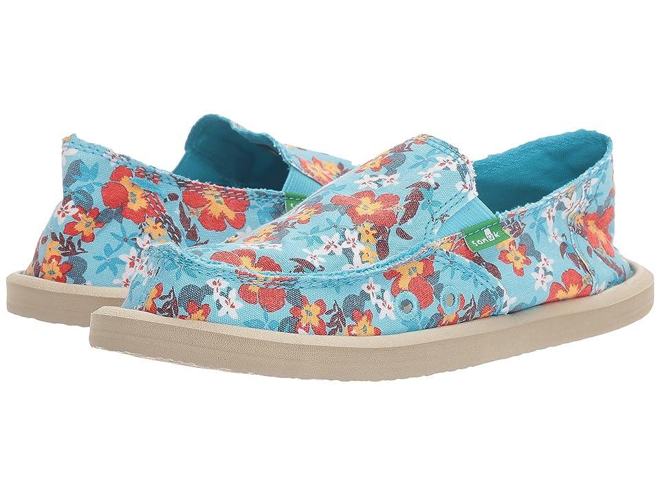 Sanuk Kids Lil Donna Aloha (Little Kid/Big Kid) (Aqua Waikiki Floral) Girls Shoes