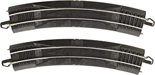 """Bachmann Trains - Snap-Fit E-Z TRACK 18"""" RADIUS CURVED RERAILER (2/card) - STEEL ALLOY Rail With Black Roadbed - HO Scale"""
