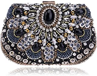 Clutch Handbag Beaded Dinner Crossbody Bag Woman Banquet Shoulder Bags Evening Dress Wallet Black Shining Crystal Beading Cosmetic Bag Pocket (18×6×12cm)