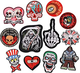 12pcs Assorted Punk Skull Style Iron on Patches Embroidered Motif Applique Decoration Sew On Patches Custom Patches for DIY Jeans, Jacket,Kid's Clothing, Bag, Caps, Arts Craft Sew Making (Punk 12pcs)