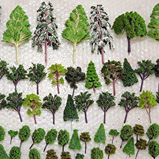 NW 25pcs Mixed Model Trees Model Train Scenery Architecture Trees Model Scenery with No Stands(0.79-2.36inch) (All Green)
