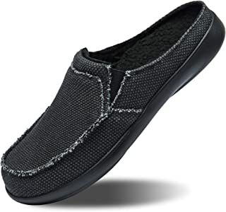 Mens Canvas Slip on Slippers with Arch Support,House Shoes Clog Bedroom Indoor Outdoor,Walking Loafers Non Slip (Size:US 7...