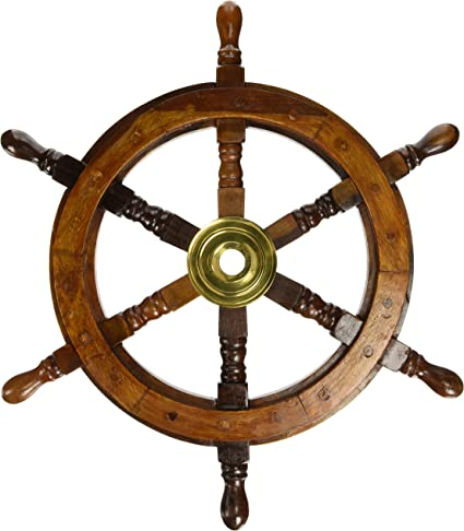 "18/""Nautical Wooden Ship Steering Wheel Pirate Decor Wood Brass Fishing Wall Boat"