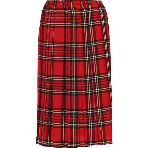 c68b1fc7dd WearAll Women's Plus Checked Tartan Print Elasticated Pleated Midi Skirt  Ladies Stretch 16-30