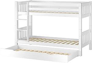 Erst-Holz Letto Bianco a Castello per Bambini per materassi 90x200 in Pino con Box 3° Letto 60.06-09WS7