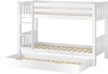 Erst-Holz Lit superposé Enfant pin Massif Blanc 90x200 avec tiroir-lit, y Compris sommiers 60.06-09WS7