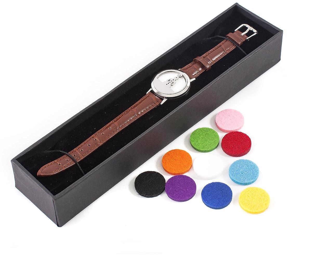 ジュース偽善意気揚々Mystic Moments | Seven Chakras | Aromatherapy Oil Diffuser Bracelet with Adjustable Brown Leather Strap