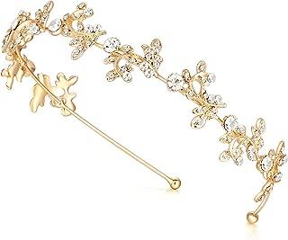 Ammei Gold Headband Bridal Tiara Flower Shape Women's Headpiece Wedding Hair Accessories (Gold)