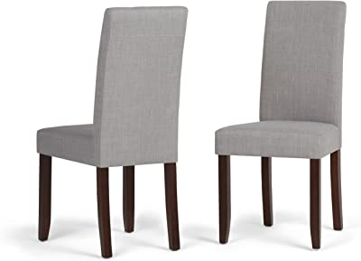 Amazon Com Simplihome Acadian Contemporary Parson Dining Chair Set Of 2 In Dove Grey Linen Look Fabric Chairs