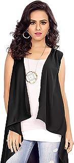 Serein Women's Shrug (Black Solid Crepe Sleeveless Shrug/Jacket)