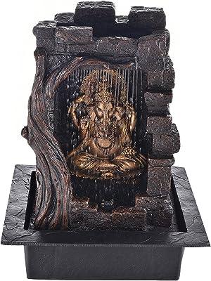 eCraftIndia Textured Lord Ganesha Polystone Water Fountain (31 cm X 23 cm X 42 cm, Brown) & Tribal Folk Dancers On Shehnai Brass Wall Hanging (55 cm X 5 cm X 20, Brown) Combo
