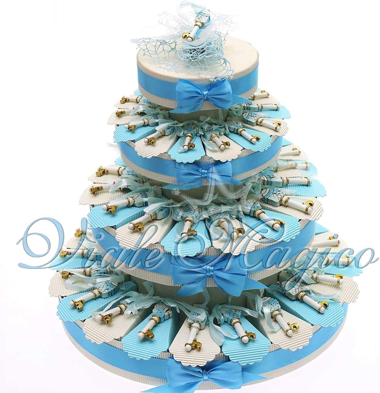 Bomboniere-Torte Kuchen Geschenke Geburt Taufe Erste Geburtstag Konfekt mit Schlüssel Baby hellblau