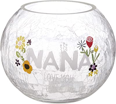 """Pavilion Gift Company Nana Love Floral Round Candle, 5 Inch Included 5"""" Crackled Glass Tealight Holder"""