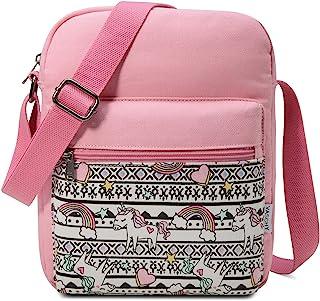 Messenger Bag for Girls,VASCHY Lightweight Canvas Crossbody Bag Purse for Teen Girls Women Fits Water Bottle
