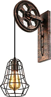 """RUNNUP Industrial Vintage Adjustable 6.69"""" Wide Wall Sconce Wall Lights Lamp Fixture with Extendable Swing Arm, Rusty Wall Li"""